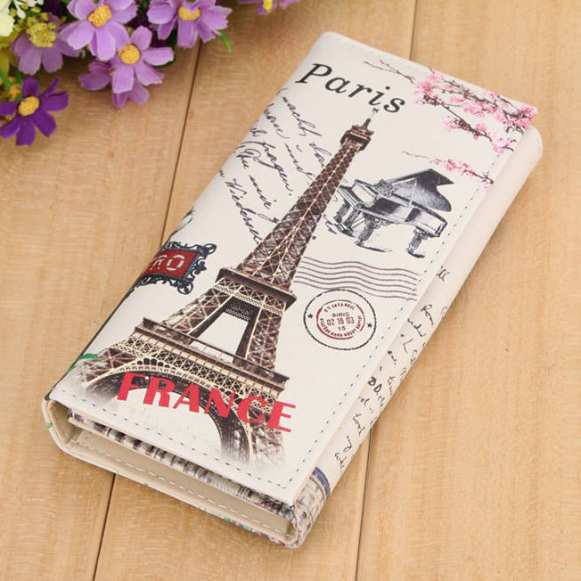 Paris Tower Pattern Women Wallets ID Cards Holder Lady Purses Handbags Coin Purse Long Clutch Moneybags Girls Wallet Burse Bags luxary women wallets lady purses cards id holder handbags moneybags long coin purse good quality female casual fold wallet bags
