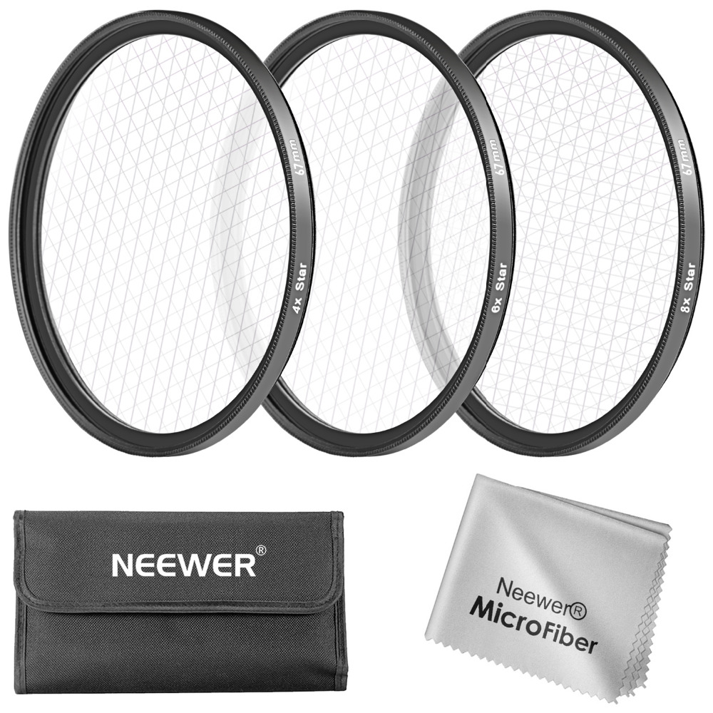 Neewer 67MM 3 Pieces Points Star Lens Filters Kit for Canon EOS Rebel T5i/4i/3i/3/2i/1i DSLR Camera with a 18-135MM Zoom Lens