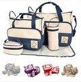 2016 Nuevos Diseñadores Bolsos de Moda Bolsa de Asas del Pañal Del Bebé Bolso Cambiador de Pañales de Alta Calidad Bolsa de Maternidad 5 Unids/set 7 Colores