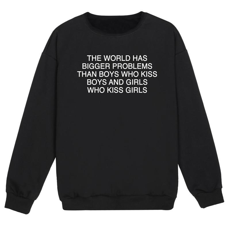 Pride Sweatshirt The World Has Bigger Problems Than Boys Who Kiss Boys Civil Rights Sweatshirt Equality Sweatshirt Women Jumpers