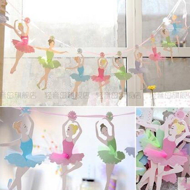 Ballerina Wedding Party Paper Flags Bunting Banner For Kids Birthday Party Decoration Supplies Wedding Home Decoration