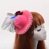 Vrouwen Party Hoofddeksels Roze Mini Top Hat Rose Gaas Decoratie Haar Clip