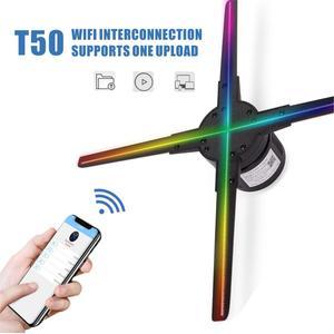 Image 4 - 50 CM 4 fan hologram fan ışık wifi kontrolü ile 3D Hologram reklam ekranı LED Holografik hava fan Görüntüleme için tatil dükkanı