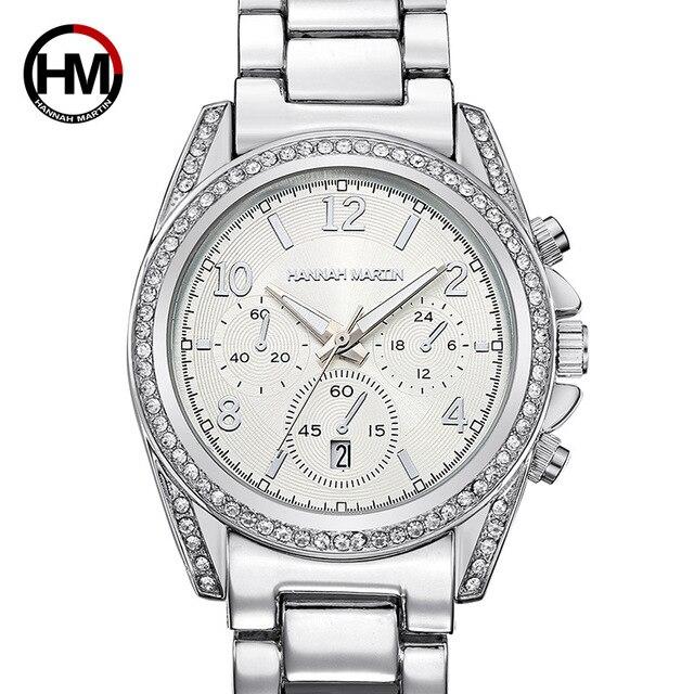 HANNAH MARTIN Luxury Silver Women Bracelet Watches Crystal Ladies Watch Quartz W