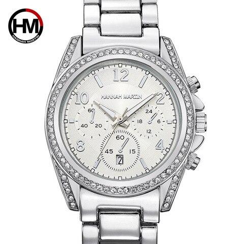 Mulheres de Prata Pulseira de Luxo Senhoras de Cristal Relógio de Quartzo Cinta de Aço Relógio de Pulso Hannah Martin Relógios Calendário Relógio Feminino