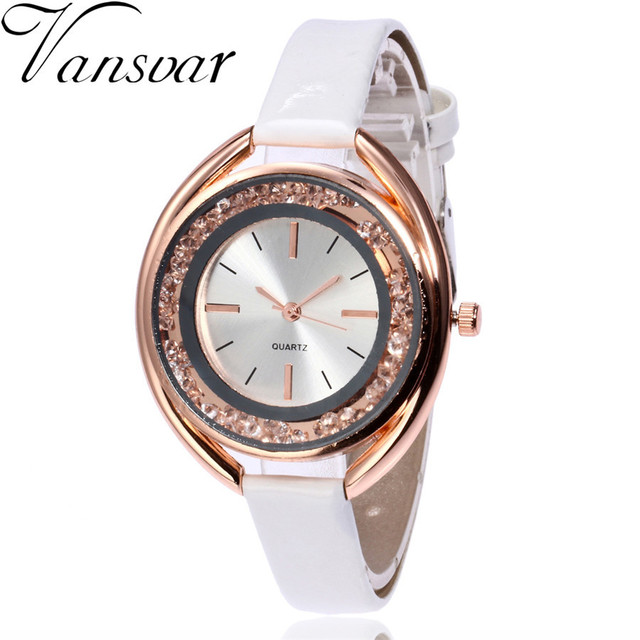 Vansvar Women Watches Bracelet Watch Ladies Casual Rhinestone Quartz Leather Str