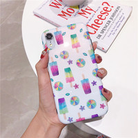 100pcs Cartoon Phone Case For iphone X XS XR XS MAX Case For iphone 6 6S 7 8 Plus Fashion Cases ice Cream watermelon Cover Capa