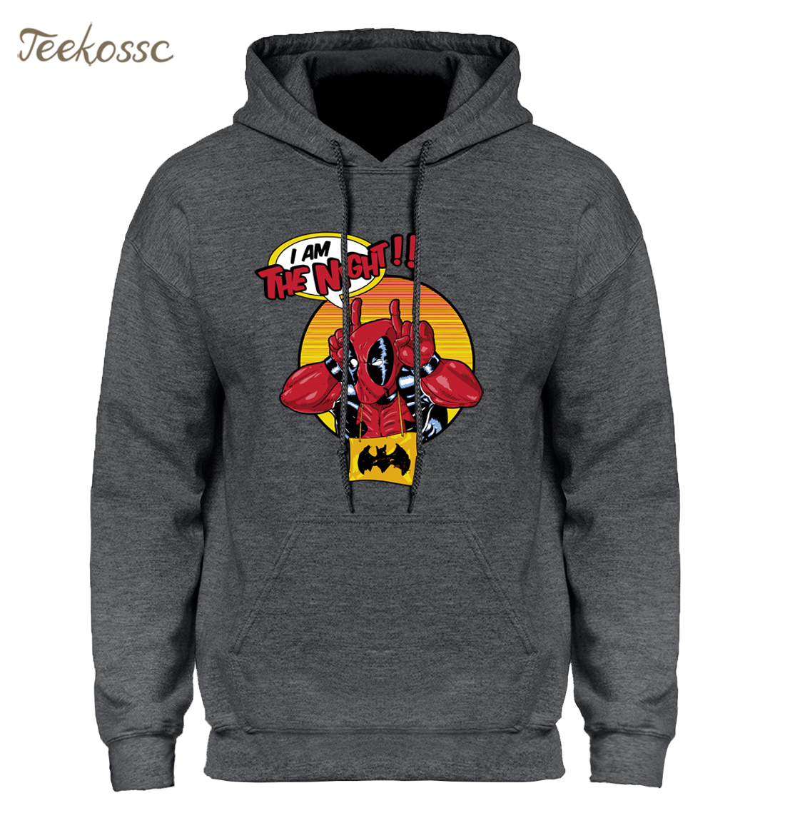 Deadpool Hoodie Mens I Am The Night Hooded Sweatshirt Funny Dead Pool Hoodies Mens 2018 Winter Autumn Black White Sweatshirts