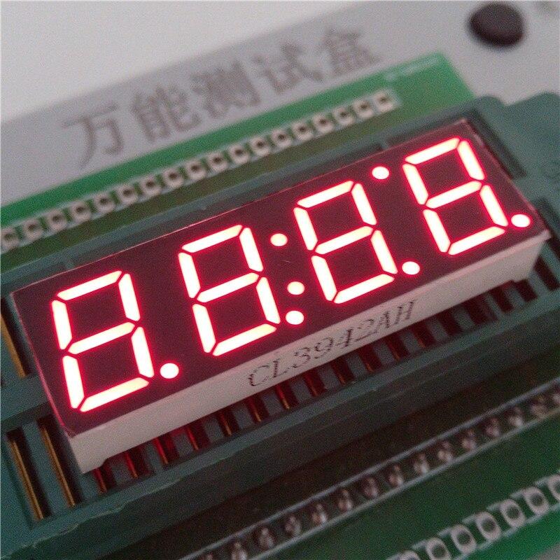 0.39 4 биты цифровой пробки светодиодный Дисплей часы красного цвета семь сегмент общий катод