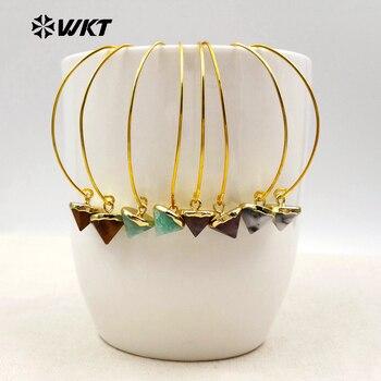 WT-E409 Wholesale charming earrings multi-color natural stone earrings unique design earrings cone-shape pendant for women