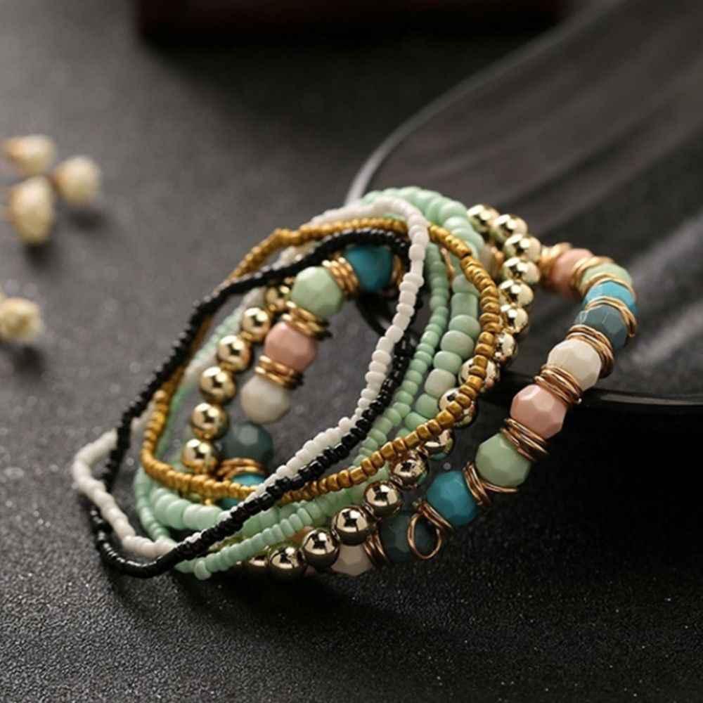 7 Pcs/Set Four Seasons Bohemian Multi-layer Beaded Jewelry and Women Elastic Bracelet 2019 New