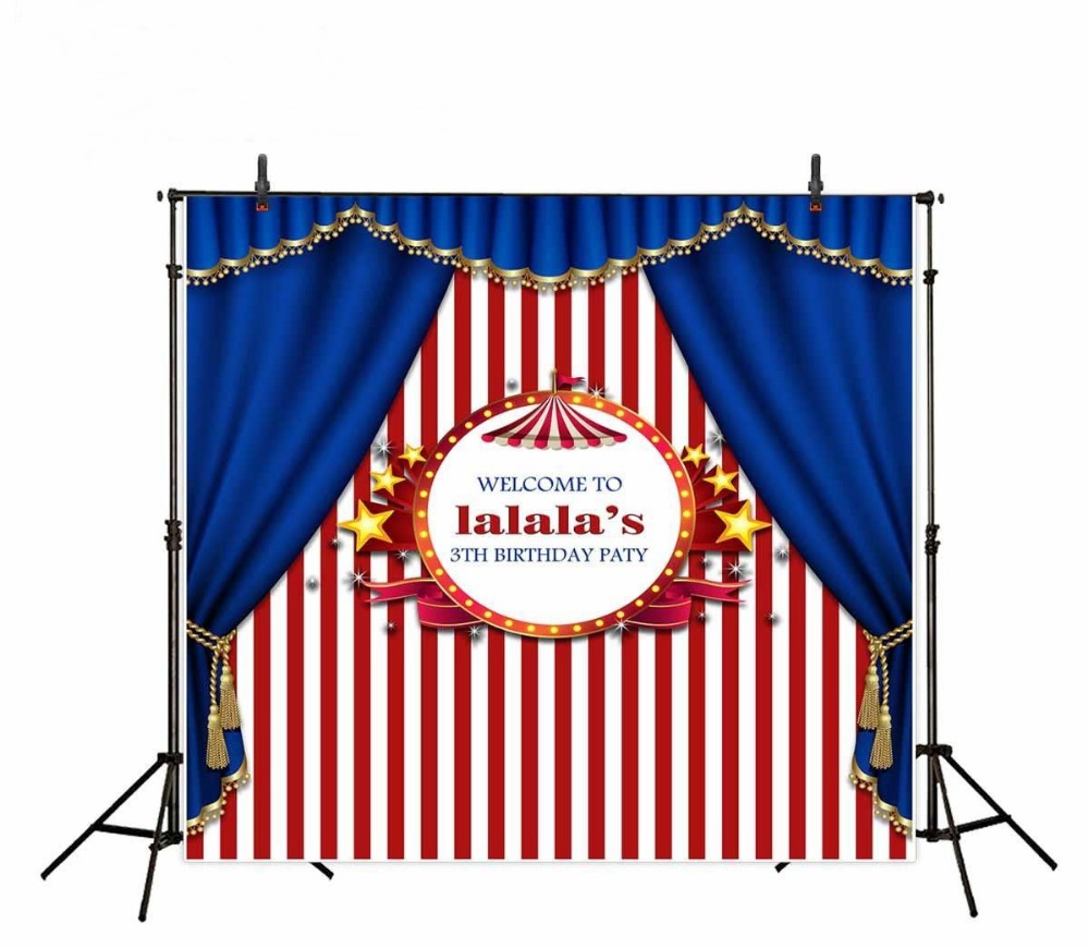 Stars Party Circus Red White Striped Blue curtains Background Vinyl cloth Computer printed birthday  backdrops no stars at the circus