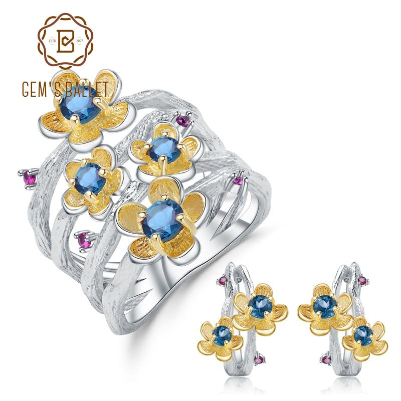 GEM S BALLET 1 62Ct Natural London Blue Topaz Handmade Flower Jewelry Set 925 Sterling Silver