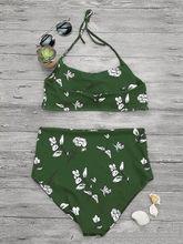 2018 New Women Bikinis Set Sexy Flower Swimwear Halter Belt Style Push Up Padded Bra Swimsuits Bathing Suits