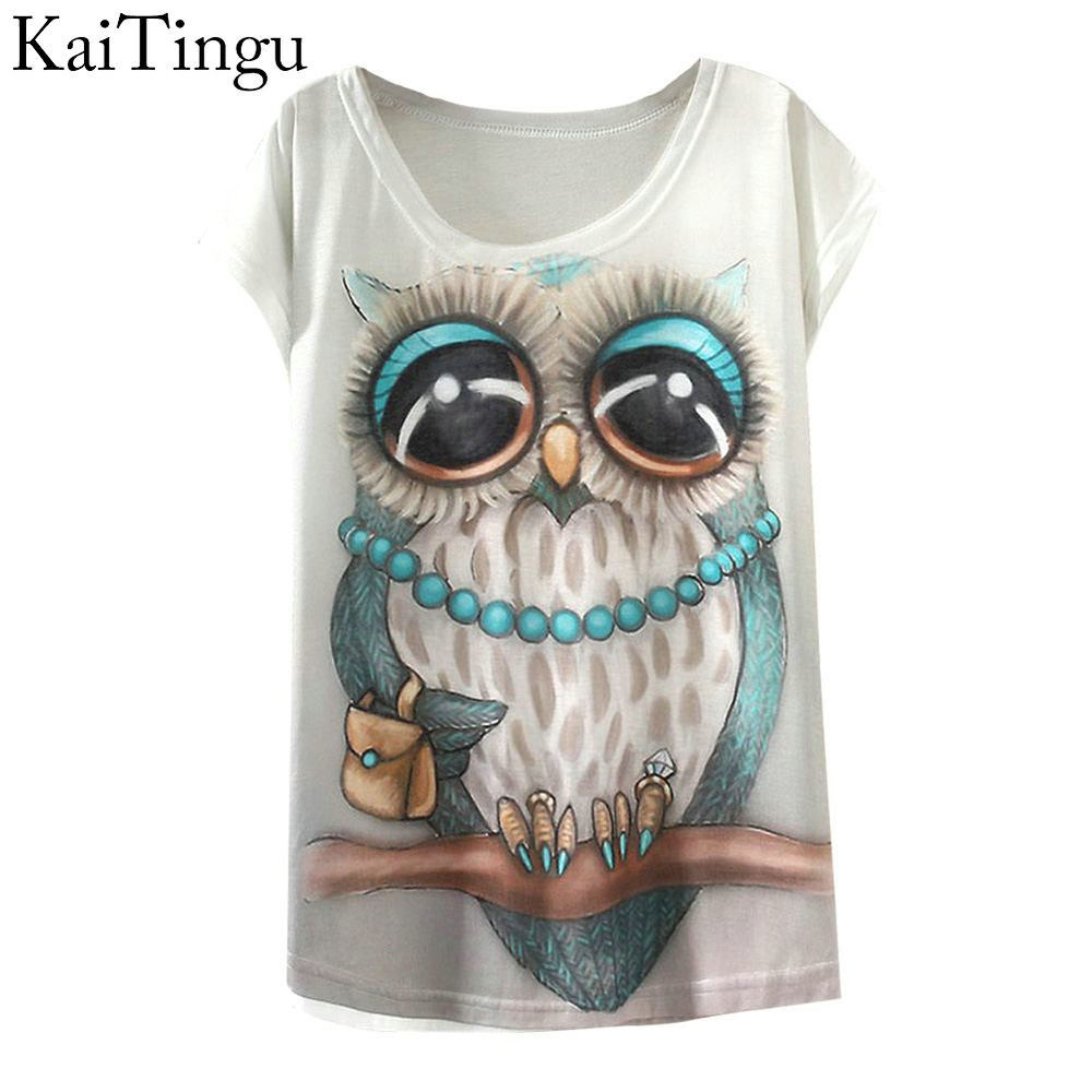 KaiTingu 2019 New Fashion Vintage Primavera Estate T Shirt Abbigliamento donna Top Animal Owl Print T-shirt Stampato donna bianca vestiti