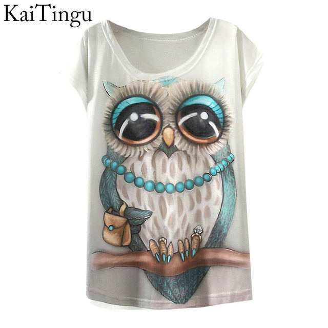 KaiTingu 2019 New Fashion Vintage Spring Summer T Shirt Women Clothing Tops Animal Owl Print T-shirt Printed White Woman Clothes