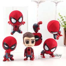 Marvel Spiderman Homecoming Figure Bobble Head Toys PVC Spider Man Figure Collection Model Toy Doll 7.5-18cm(China)