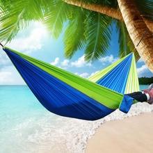 270×140 cm Jardín Inicio Deportes Viajes Nylon Cuelgue Cama Doble Persona Hamaca Al Aire Libre Oscilación Que Acampa E2