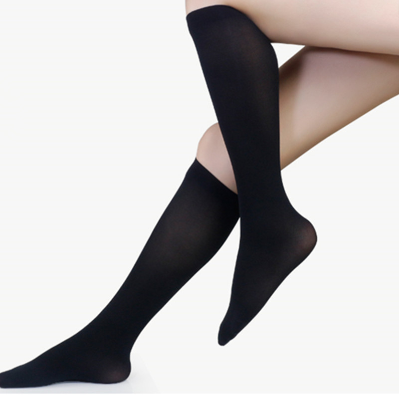 1PC New Women Lower Knee Socks Thigh High Stockings Opaque Warm Japanese School Student Black Stripe Long Sock Hot Sale