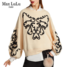 Max LuLu Luxury Brand Designer 3d Floral Womens Long Sleeve Sweatshirt Sudadera Mujer Loose Woman Crop Hoodies Plus Size Clothes