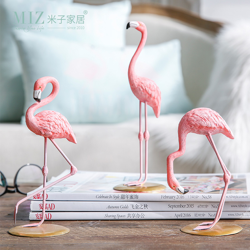 Miz Home 3 Pieces Pink Flamingo Desktop Figure Lovely Home Decoration Gift for Girls 1 Set Flamingo Mini Sculpture Statue