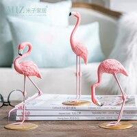 Miz Home 3 Pieces Pink Flamingo Desktop Figure Lovely Home Decoration Gift For Girls 1 Set