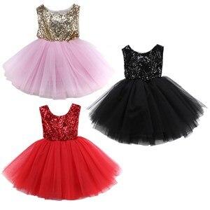 Платье-пачка с цветочным узором для маленьких девочек, летнее кружевное платье-пачка с блестками для девочек, платья без рукавов с бантом, о...