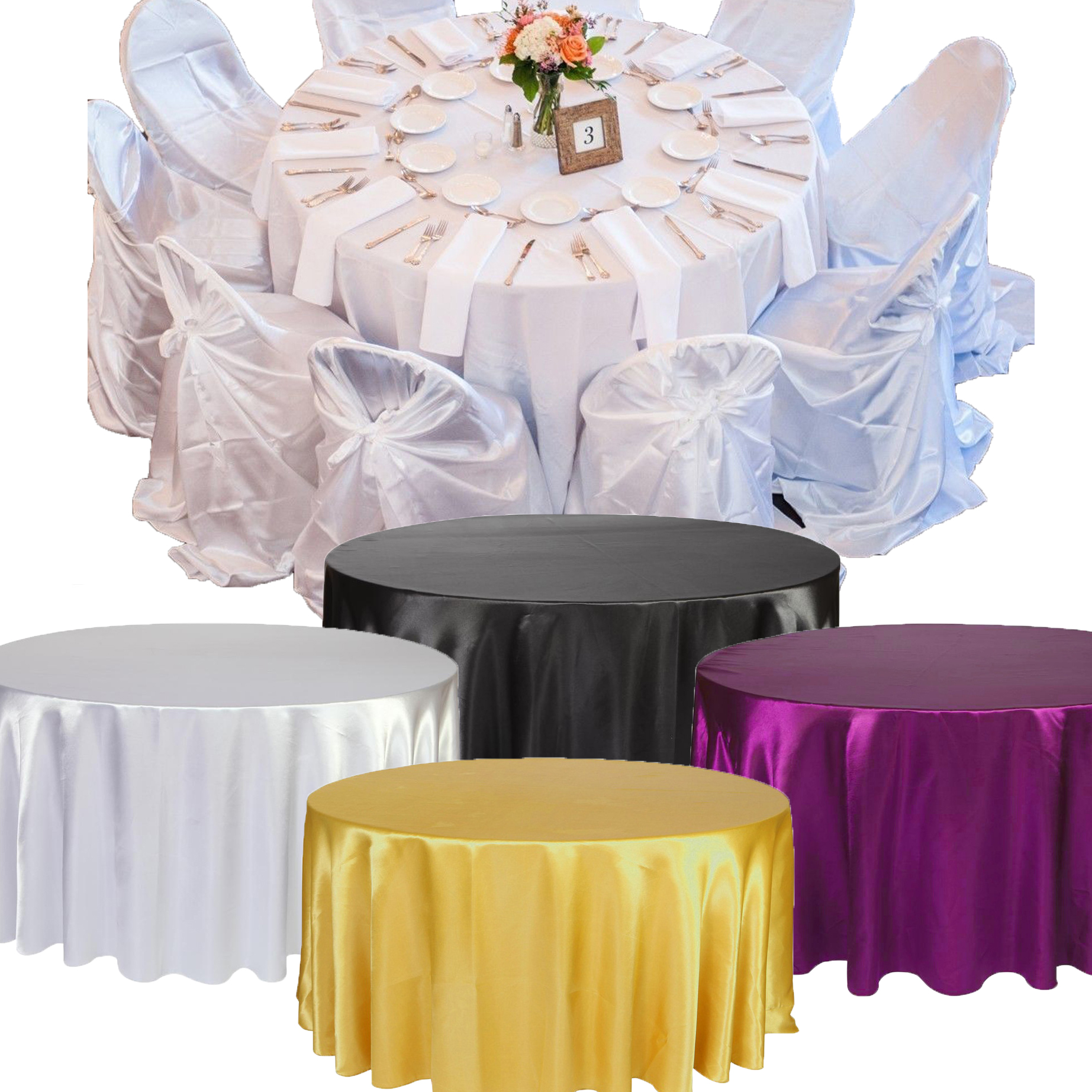 57'' 145cm Diameter Solid Round Table Cloth Home Decor Party Toys For Wedding Birthday Party 4 Colors Table Cover Cloth