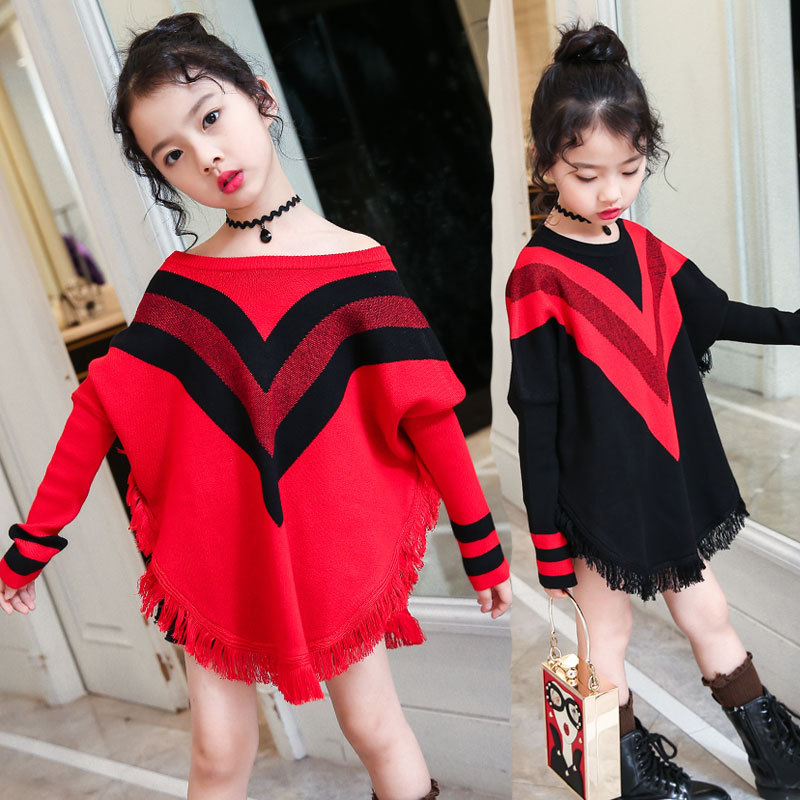 Teens Girls Autumn 2018 Winter Baby Girls Clothes Kids Girls Tassel Striped Sweaters Children Knitted Bottoming Sweaters Costume children autumn and winter warm clothes boys and girls thick cashmere sweaters