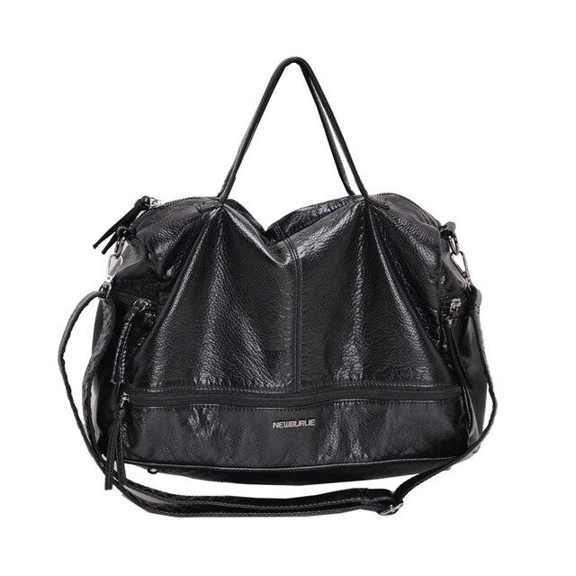2019 Large Capacity Women Bag Shoulder Tote Bag washed PU Motorcycle  Messenger bags casual handbags Top-handle bags Sac a main 4