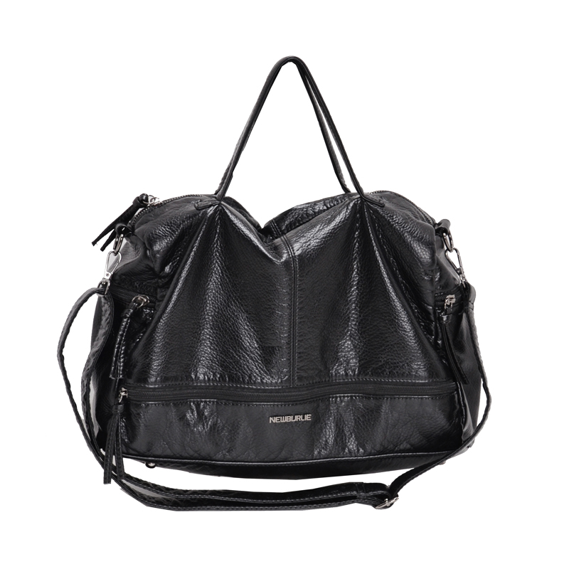 Image 5 - 2019 Large Capacity Women Bags Shoulder Tote Bag soft PU Motorcycle  Messenger bags casual handbags Top handle bags Sac a main-in Top-Handle Bags from Luggage & Bags