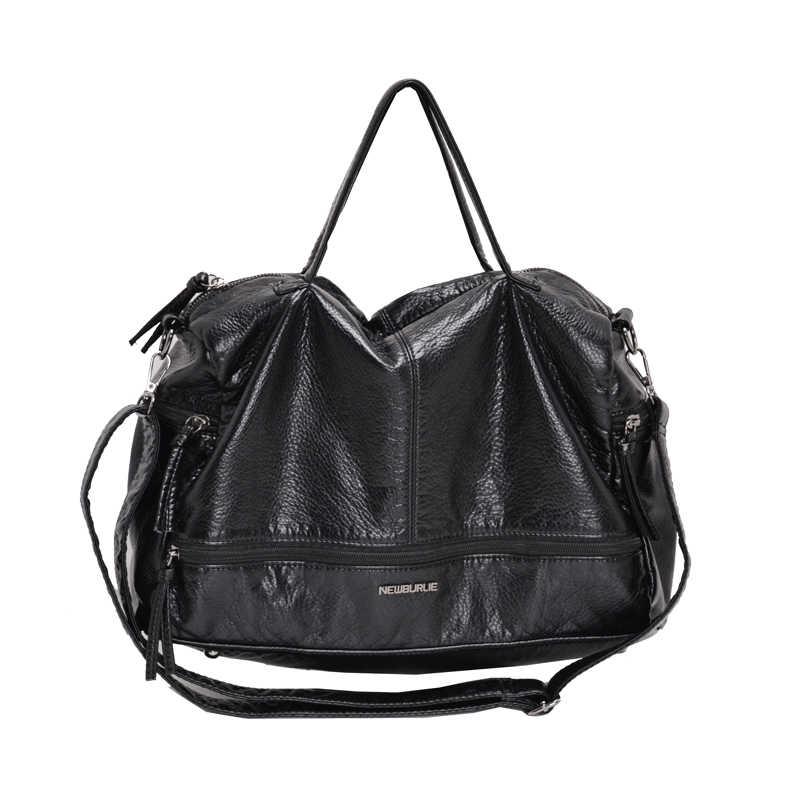 Große Kapazität Taschen für Frauen 2020 Schulter Tasche gewaschen PU Motorrad Messenger casual handtaschen Top-griff taschen Sac ein haupt