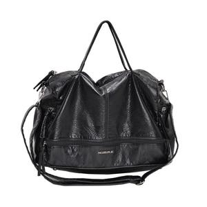 Image 5 - Large Capacity Bags for Women 2020 Shoulder Tote Bag washed PU Motorcycle  Messenger casual handbags Top handle bags Sac a main