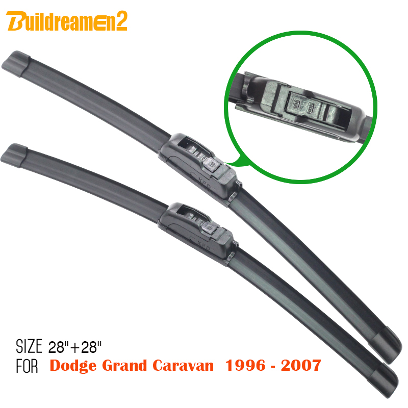 Buildreamen2 Brand New 2Pcs Windscreen Soft Rubber Windshield Frameless Wiper Blades Suit For <font><b>Dodge</b></font> <font><b>Grand</b></font> <font><b>Caravan</b></font> <font><b>1996</b></font>-2008