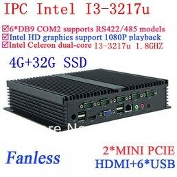 New arrival embeded PC I3 Gigabit Ethernet NM70 6 USB 6 COM 4G RAM 32G SSD