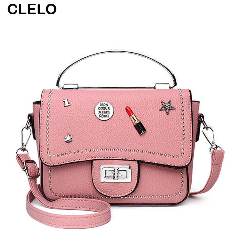 CLELO Vintage Bolsa Mujer Bag Women Luxury Handbags Designer PU Shoulder Crossbody Bags Female Bolsa Feminina Bag Bolsa de couro qweek luxury handbags women bags designer 2017 pu leather shoulder bag female printing bolsa feminina mini flap crossbody bags