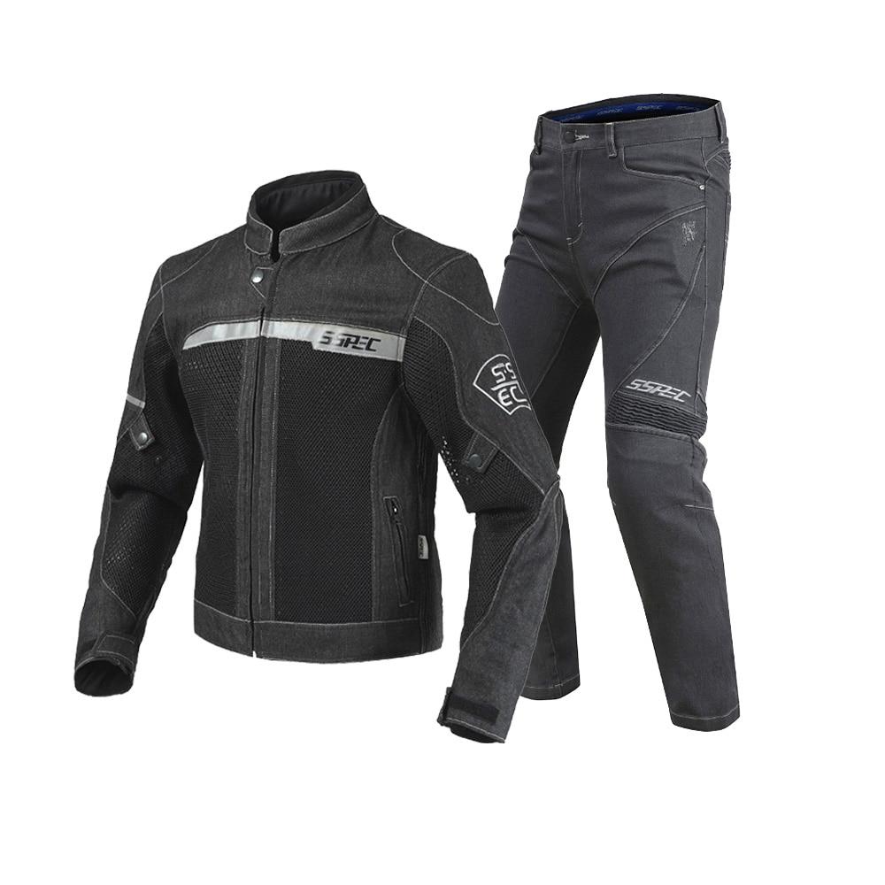 2018 New SSPEC Black Motorcycle Jacket Pants Men Moto Jacket Breathable Denim Mesh Racing Riding Jacket Jaqueta Motoqueiro men destroyed denim jacket
