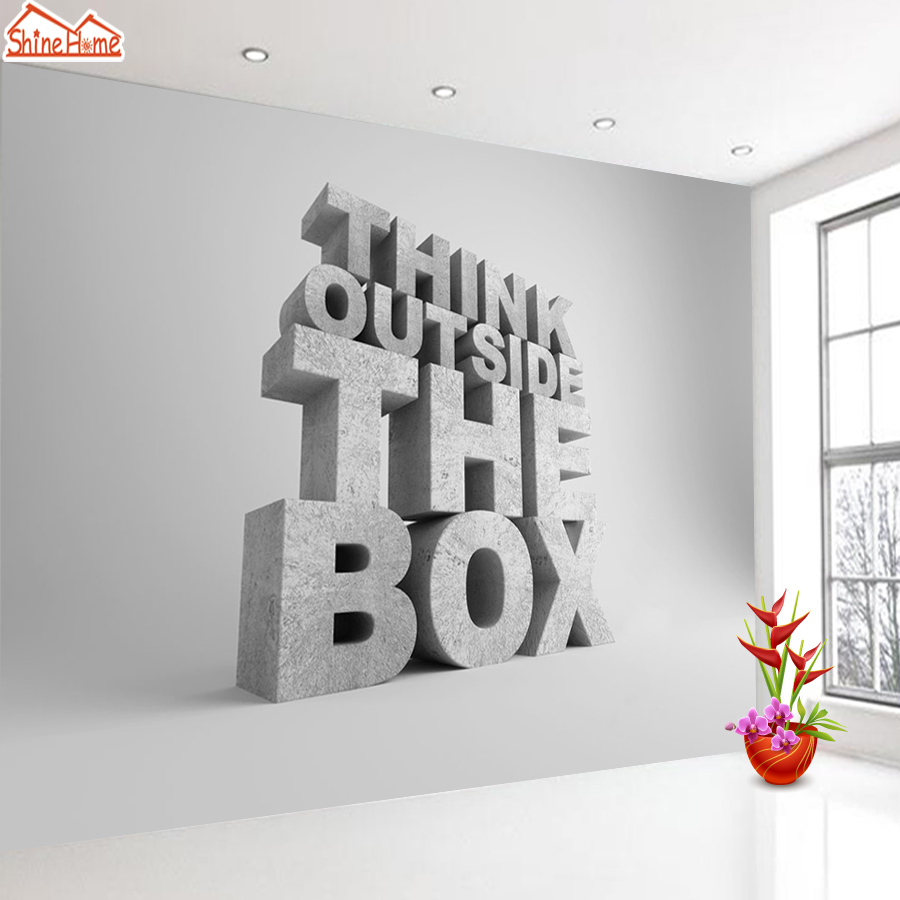 ShineHome-Letter Think Outside the Box Modern Room Background Wallpapers Rolls 3d Room Wallpaper for Walls 3 d Livingroom Paper shinehome modern banana leaf strip abstract background wallpapers rolls 3 d wallpaper for livingroom walls 3d kids room paper