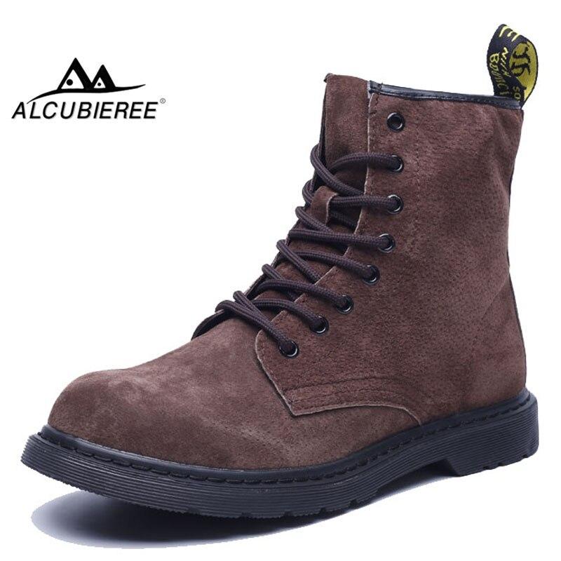 ALCUBIEREE бренд Для мужчин Chukka сапоги мужские ботильоны на шнуровке удобные замшевые зимние кожаные ботинки нескользящая обувь в стиле Дерби б...