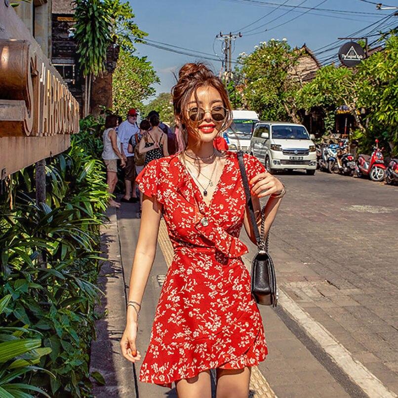 2019 été femmes Floral Mini Boho Chic Wrap robe avec volants dames vacances robes de plage