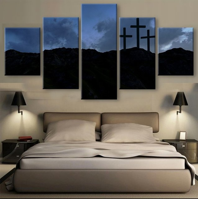 5 Pieces HD Print Canvas Art Christian Three Crosses Paintings on ...