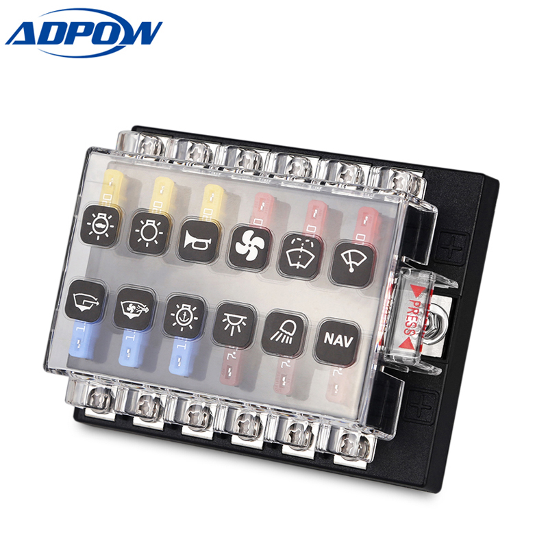 12 way circuit blade car fuse box holder terminals with. Black Bedroom Furniture Sets. Home Design Ideas