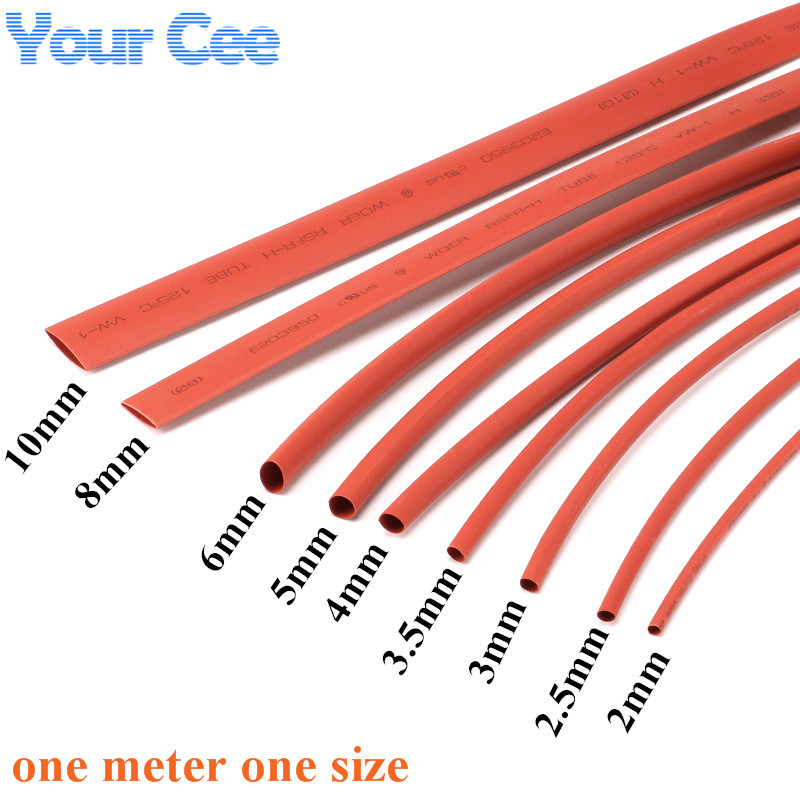2:1 Heat Shrink Tube Shrinkable Sleeve Heatshrink Insulation Wire Cable 600V Red Color 9pc Each Size 2 to 10MM