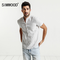 SIMWOOD 2017 Summer Shirts Men Short Sleeve 100 Pure Linen Henry Collar Striped Cool Breathable Brand
