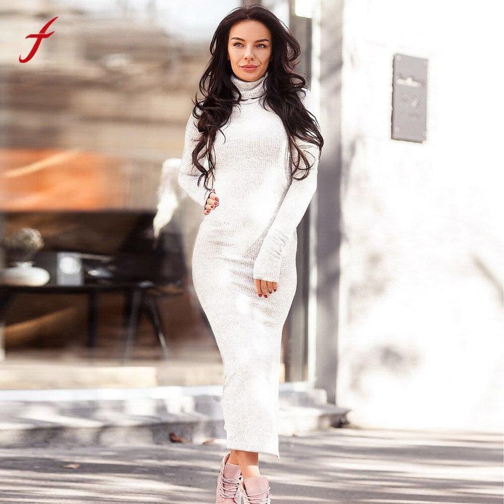 FEITONG Fashion Women Knitted Sweater Dress Maxi Long Turtleneck Solid Slim Fitness Jumper Fashion Dress Robe Moulant Femme TT