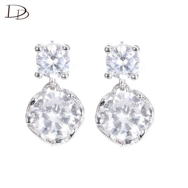 Women 925 Sterling Silver Zircon Stud Earrings DU5RnD