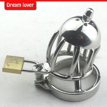 Stainless Steel Chastity Belt Thorn Ring with Locking Urethral Sound Penis Catheters Unique Toys