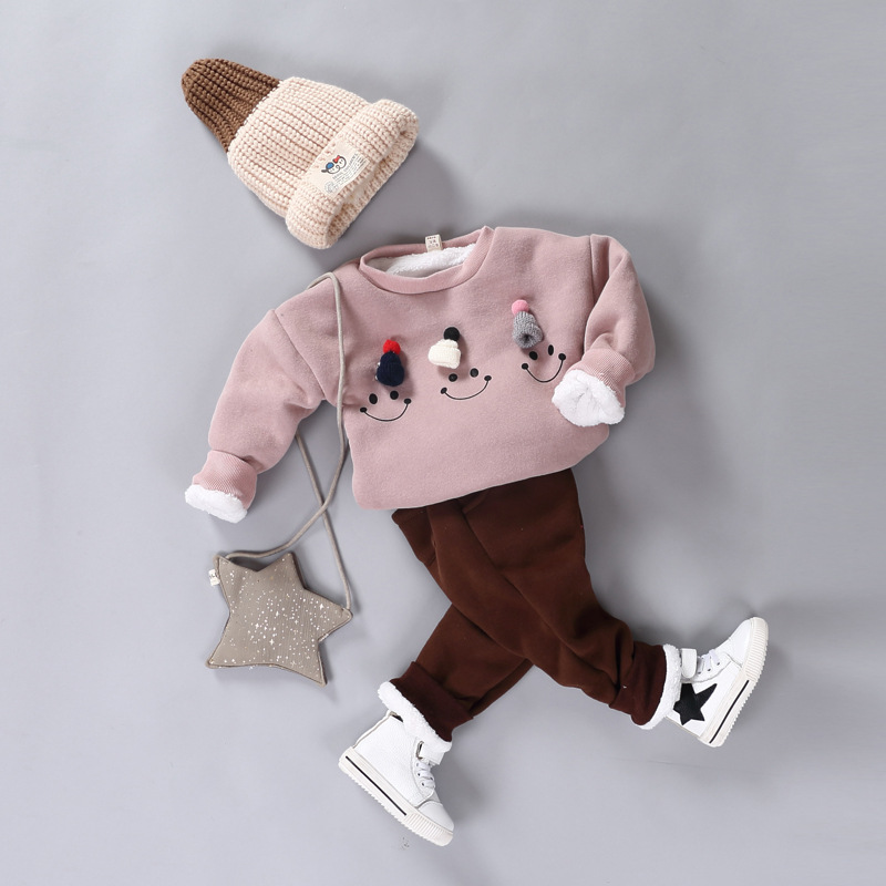 Pink and Red Children Sets Baby Girls & Boys Clothing Set Thick Warm Cute Suit Kids Winter Long Sleeved Coat+Pants kids clothes