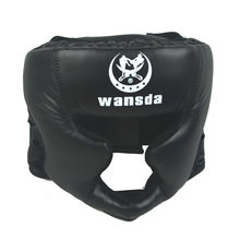 Good black boxing training Sanda protective gear helmet enclosed helmet MMA UFC Muay Thai fighting protective gear guard head(China)