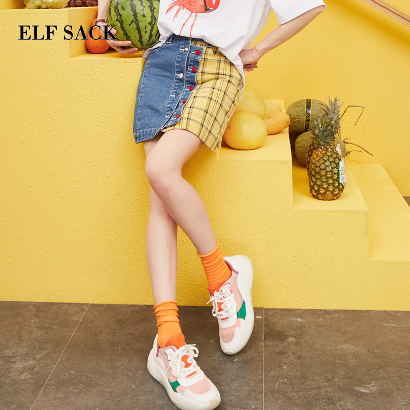 ELF SACK 2019 Spring New Woman Skirts Casual Plaid Ladies Mini Skirt Patchwork Skinny A line